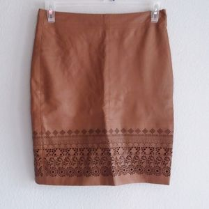 Maddison genuine leather camel color skirt size 38